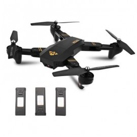 image of TIANQU XS809W FOLDABLE RC QUADCOPTER RTF WIFI FPV / G-SENSOR MODE / ONE KEY RETURN (BLACK) WITH THREE BATTERIES, 2MP CAMERA + AIR PRESS ALTIT