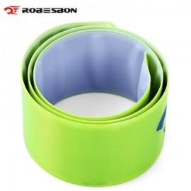 image of ROBESBON BICYCLE REFLECTIVE TAPE BIND PANT LEG BAND NIGHT WARNING STRAP (GREEN)