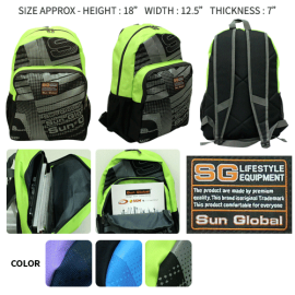 image of SGB01 SUN GLOBAL LAPTOP / SCHOOL / TRAVEL / CLIMBING BACKPACKS