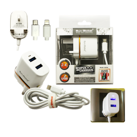 image of SGT08 SUPER ++ TRAVEL CHARGER / ADAPTER ( MICRO ) ( 2.4A , 2 USB PORTS )