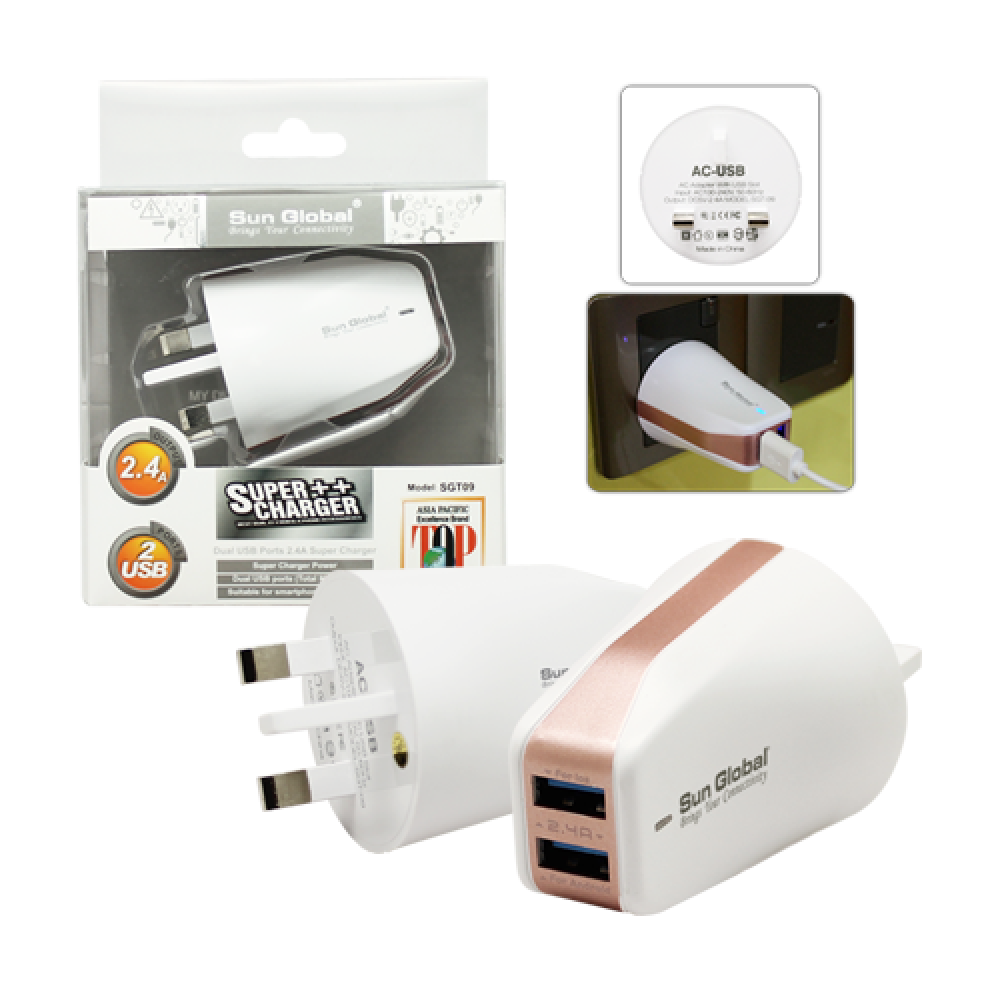 SGT09 SUN GLOBAL SUPER CHARGER + DUAL USB PORTS 2.4A