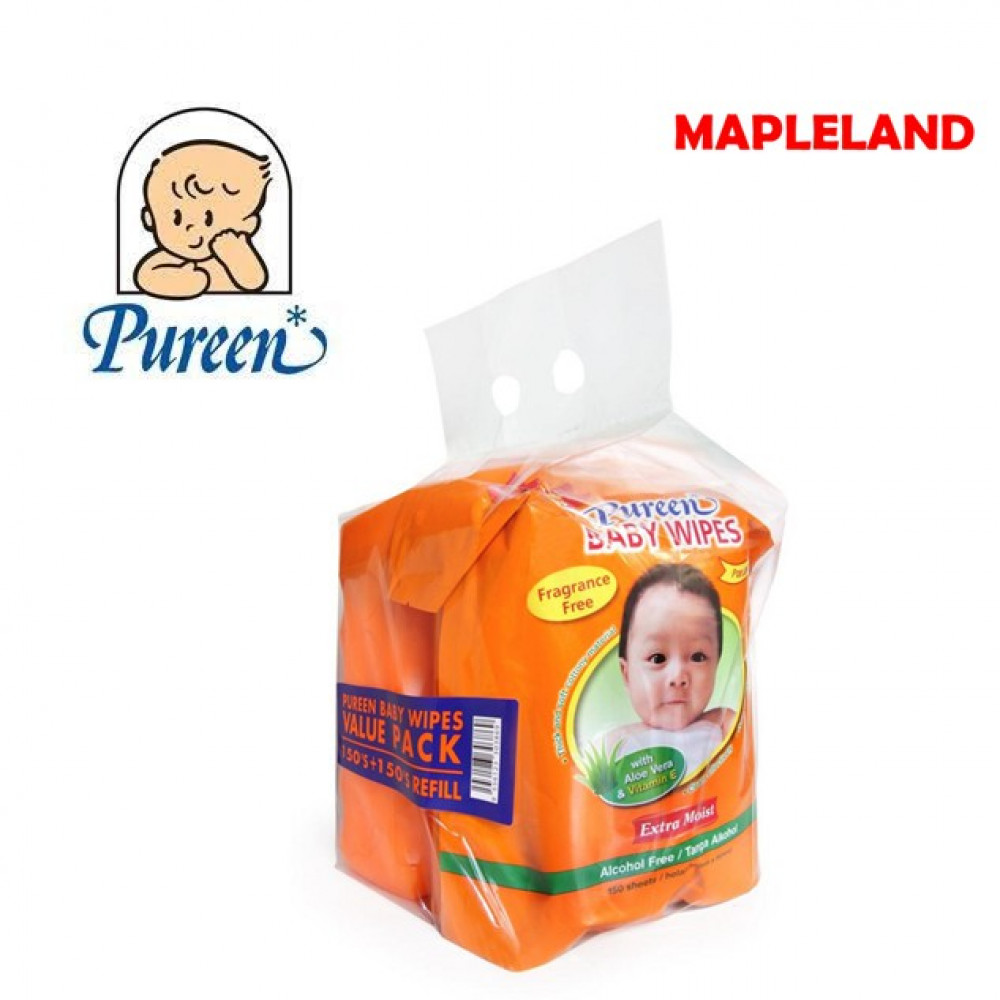 Pureen Baby Wipes Value Packs (150'S + 150'S Refill)ORANGE