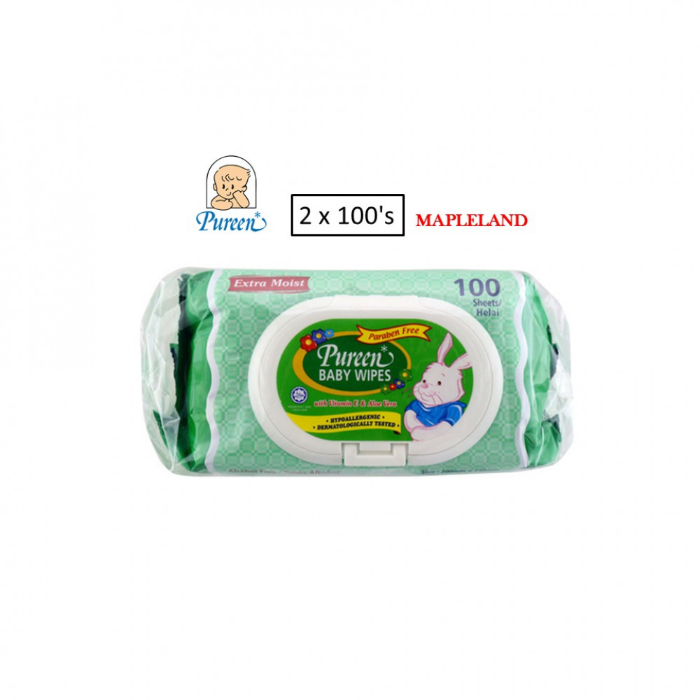 Pureen Baby Wipes 2 x 100S(GREEN)