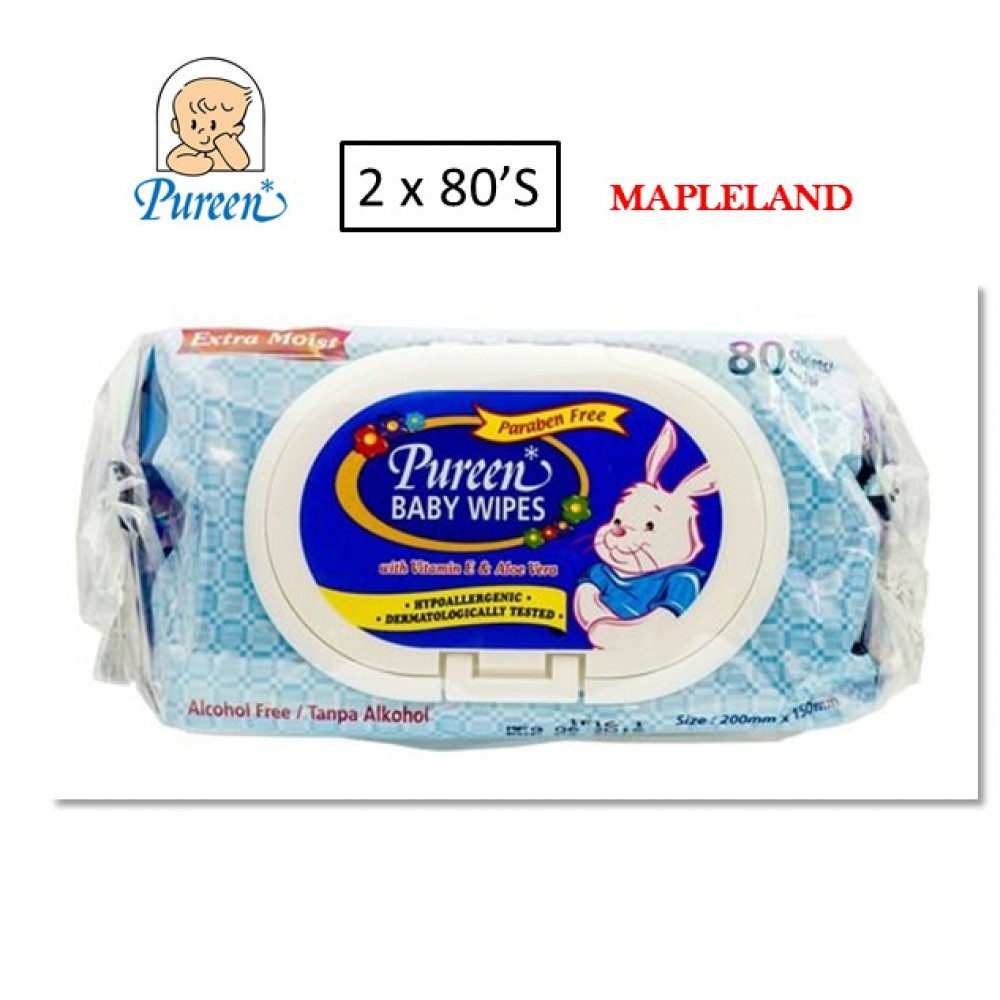 Pureen Baby Wipes 2 x 80s(BLUE)