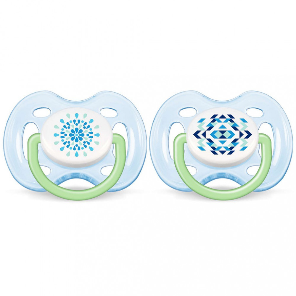 Avent Soother Contemporary Freeflow (0-6 Month) Twin Pack PINKSCF180/26-BLUESCF180/25
