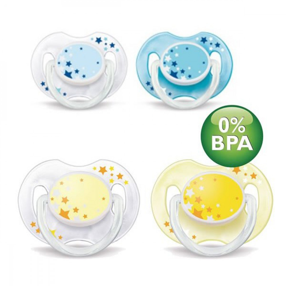 Avent Soother Night Time (0-6 Month) Twin Pack SCF176/18