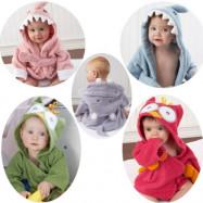 image of Baby Bathrobe Animal Face Hooded Towel