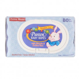 image of Pureen Extra Moist Blue Baby Wipes(2 x 80 Sheets)