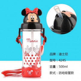 image of Disney mickey minnie water straw bottle