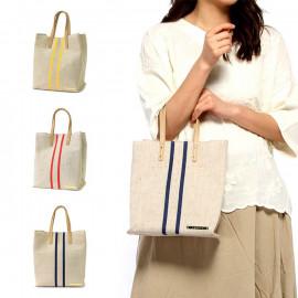 image of 條紋麻布手提包