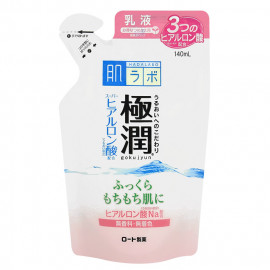 image of 日本 ROHTO 肌研 新極潤玻尿酸超保濕乳液 補充包 增量版 140mL #.9.(新極潤乳液粉紅標)