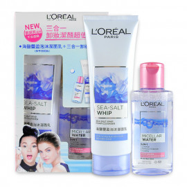 image of 【出清品】LOREAL 巴黎萊雅 三合一卸妝潔面超值組 95mL+125mL Loreal Paris Sea-Salt Whip Foam Cleanser 125ml & Micell Water 95ml