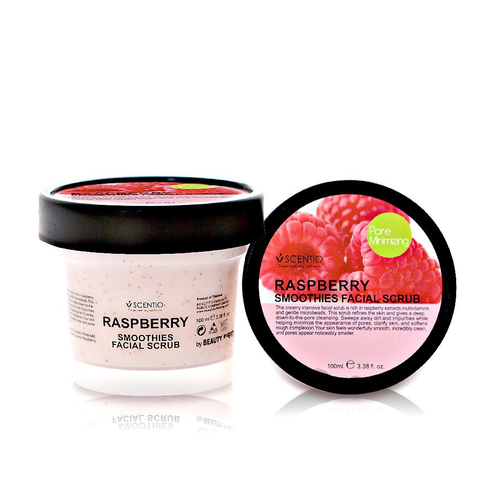 image of 泰國 SCENTIO 覆盆莓緊緻臉部去角質優格100ml Thailand [SCENTIO] Raspberry Smoothies Pore Minimizing Facial Scrub 100ml