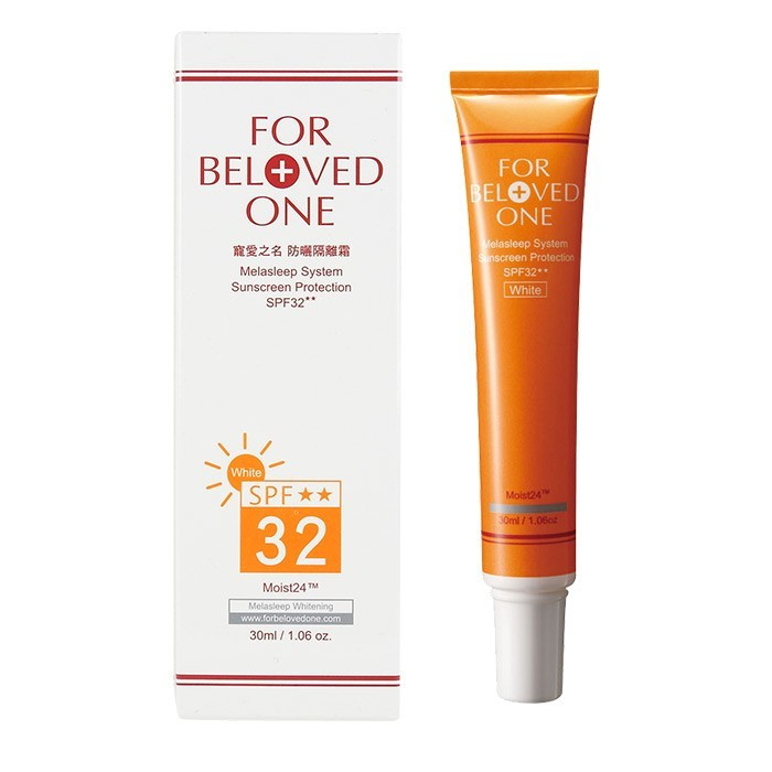 For Beloved One 寵愛之名 防曬隔離霜 SPF32★★ 30mL 白色   For Beloved One Melasleep System Sunscreen Protection SPF32★★ 30mL white