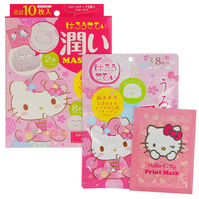 image of 日本 LOOKS 櫻花潤澤面膜 (Hello Kitty限定版) 10枚入  JAPAN GALS Hello Kitty Cherry Blossoms 10 Mask Set