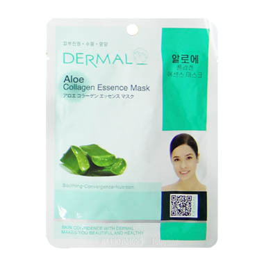 image of 韓國 DERMAL面膜 23g NO.06.蘆薈菁華面膜  Korea Dermal Aloe Collagen Essence Mask 23g