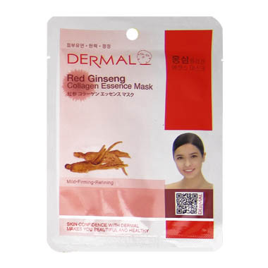 image of 韓國 DERMAL面膜 23g NO.21.紅蔘調理補濕面膜  Korea DERMAL Red Ginseng Collagen Essence Mask 23g
