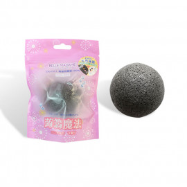 image of Belle Madame 貝麗瑪丹 天然蒟蒻海綿(1入) 竹炭乾式  Belle Madame Facial Cleanser Sponge