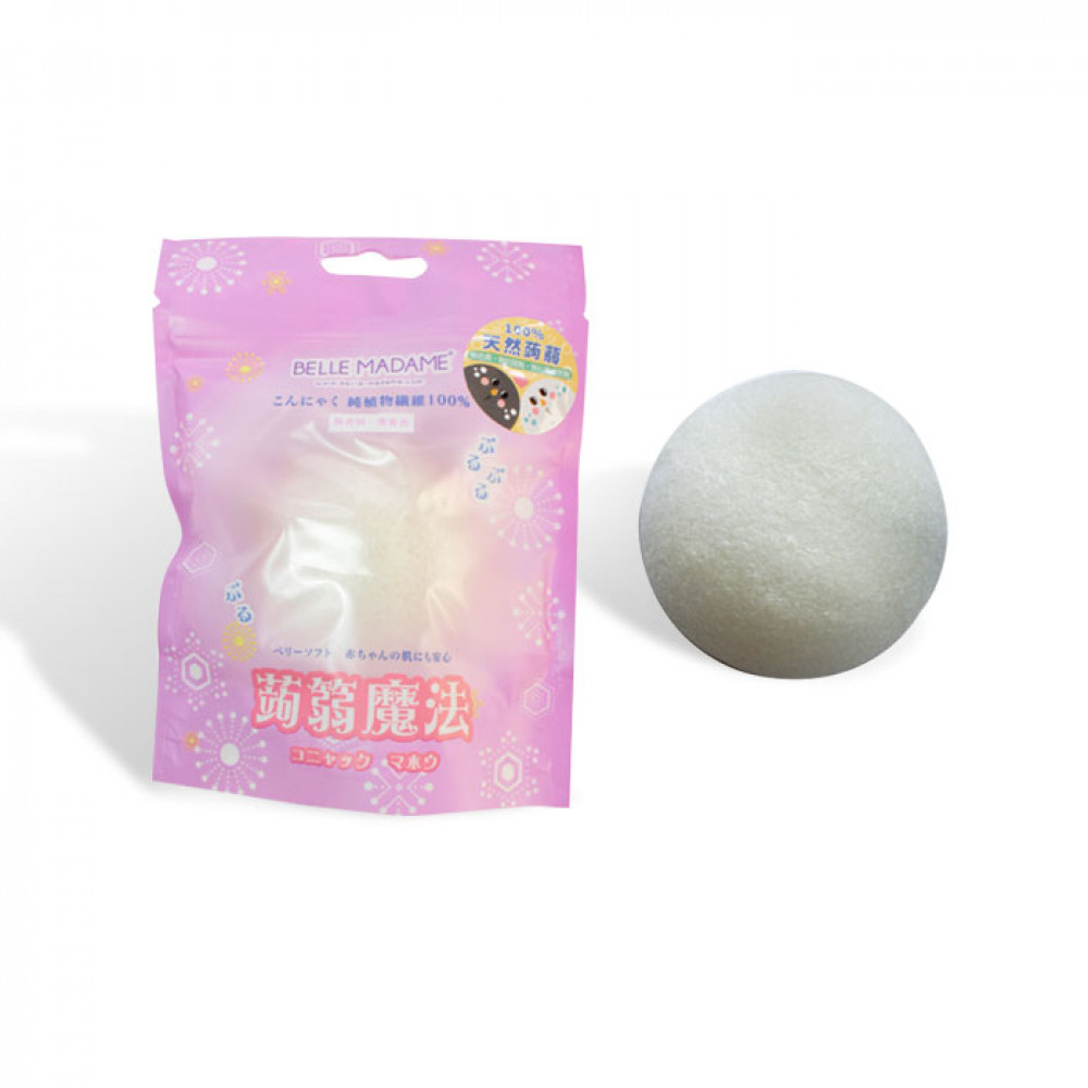 Belle Madame 貝麗瑪丹 天然蒟蒻海綿(1入) 乾式  Belle Madame Facial Cleanser Sponge