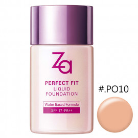 image of 日本 SHISEIDO 資生堂 ZA 裸粧心機輕潤粉底液 SPF17/PA++ 30mL #.PO10      Japan SHISEIDO Za New York PERFECT FIT Liquid Foundation water based formula 30ml (PO10). 30ml, SPF17 PA++