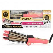 image of JANET Q 澤妮官 三合一陶瓷電棒神器(直髮/捲髮/玉米鬚) 28mm 乙支入 #.粉金女神   JANET Q 3 Ways Hair Iron 28mm # Pink Gold