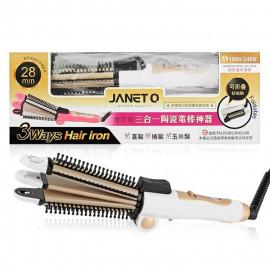 image of JANET Q 澤妮官 三合一陶瓷電棒神器(直髮/捲髮/玉米鬚) 28mm 乙支入 #.白金時尚   JANET Q 3 Ways Hair Iron 28mm #White Gold