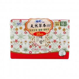 image of 蘇菲天然草本衛生棉25cmX18片    Sofy Body Fit Guierang Mugwort Korea Herbal Sanitary Napkins Medium  25cmX18 Pcs