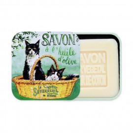 image of 法霓恩時光鐵盒 100g#清朗時光夏木棉(清爽型)    La Savonnerie de Nyons Soap Metal Box Cats Black & White 100g