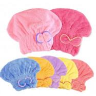 image of 不掉毛超細纖維珊瑚絨乾髮帽 可愛蝴蝶結乾髮帽    Hot Ladies Cute Bowknot Dry Hair Hat Absorbent Microfiber Shower Caps Dry