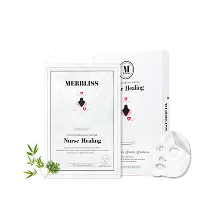 image of 韓國 MERBLISS 護士面膜 鎮定修護(單片) ~安宰賢代言~ Korea  MERBLISS Nurse Healing Gauze Seal Mask