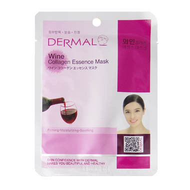 image of 韓國 DERMAL面膜 23g NO.15.紅酒保濕彈性面膜   Dermal Korea Collagen Essence Full Facial Mask Sheet - Wine  23g