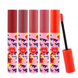 image of 韓國 3CE xMaison Kitsune小狐狸聯名 霧面絲絨唇釉 4g (五色可選)  Korea 3CE Maison Kitsune Velvet Lip Tint - 5 colors 4g