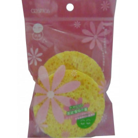 image of COSMOS 洗臉海棉 圓形 2入 (小) 洗臉海綿/蒟蒻海綿/潔顏綿    COSMOS Facial Cleanser Round Sponge (2 Pcs Small)