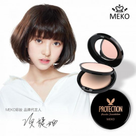 image of Meko 絲綢控油防護粉餅 粉嫩/亮彩/健康 12g (三色可選)   MEKO Protection Powder Foundation Baby Pink/Bright Tone/Beige Tone 12g