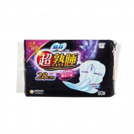 image of 蘇菲熟睡乾爽網層衛生棉28cmX16片   UNICHARM SOFY Sanitary Pads Overnight 28cmX16 Pcs - Cotton Soft