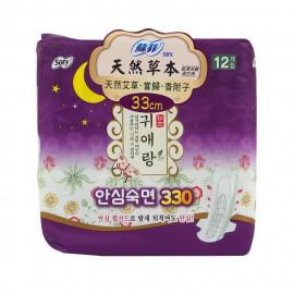 image of 蘇菲天然草本衛生棉夜用33cmX12片   [Unicharm Sofy BodyFit] Cotton Natural Overnight Size(33cm) Sanitary Pad Guiailang 12 Pcs