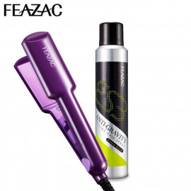 image of 【超值兩件組】FEAZAC 舒科 陶瓷加寬恆溫離子夾+抗引力急塑定型噴霧 280ml   FEAZAC  Ceramic Wide Plate Straightener + Anti-Gravity Styling Hair Spray  280ml