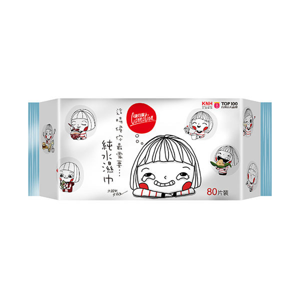 image of 康乃馨大頭兒(飲食版) 純水濕巾80片裝(超厚)  Carnation big head (food version) pure water wipes 80 pieces (ultra thick)