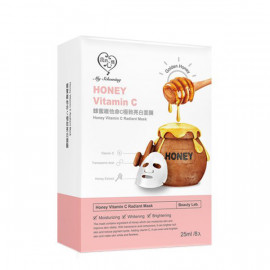 image of 【我的心機】蜂蜜維他命B.C.E面膜(共三款)8入-極致亮白 Honey Vitamin C Radiant Mask 8PCS
