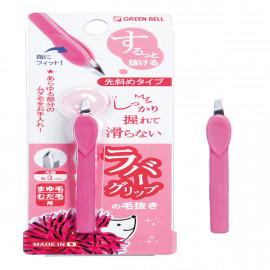 image of GreenBell斜面夾頭-不滑手拔毛夾(粉) Tweezers 1PCS
