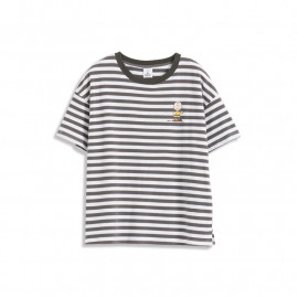 image of 查理‧布朗小印花條紋T恤 三色售 Charlie Brown Small Print Striped T-Shirt Three-Color