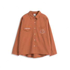image of 查理‧布朗繡花口袋襯衫 兩色售 Charlie Brown Embroidered Pocket Shirt Two-Color