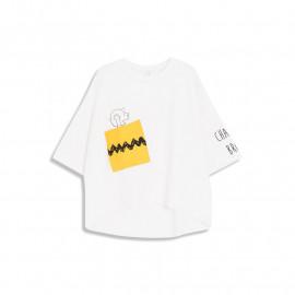 image of 查理‧布朗斜邊大口袋字母印花短袖棉T Charlie Brown Beveled Large Pocket Letter Print Short Sleeve Cotton T