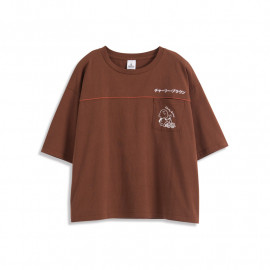 image of 查理‧布朗單口袋人物字母繡花短袖T恤 Charlie Brown Single Pocket Character Letter Embroidered Short Sleeve T-Shirt