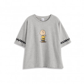 image of 查理.布朗舉手袖閃電印圖T恤 Charlie. Brown Raised Hand Sleeves Lightning Print T-Shirt