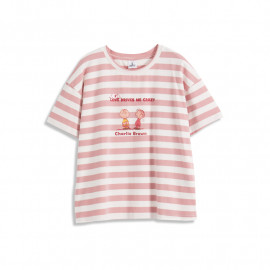 image of 查理.布朗粉色條紋瘋狂印圖T恤 Charlie. Brown Pink Stripe Crazy Print T-Shirt