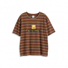 image of 查理‧布朗日文字撞色條紋T恤 Charlie Brown's Text Contrast Striped T-Shirt