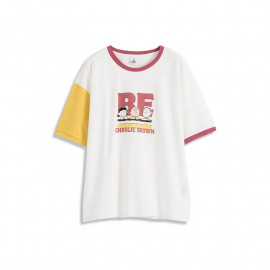 image of 查理‧布朗拼色袖好朋友印圖T恤 			Charlie Brown Color Matching Sleeves Good Friend Printed T-Shirt