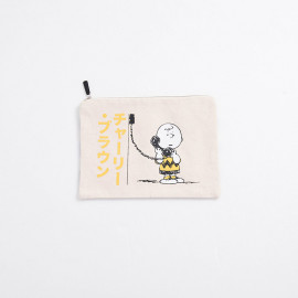 image of 查理‧布朗日文字母印花拉鍊手拿包 Charlie Brown Japanese Letter Print Zip Clutch