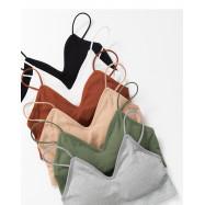 image of V型設計半截細肩背心 六色售 V-Shaped Design Half-Shoulder Vest Six Colors
